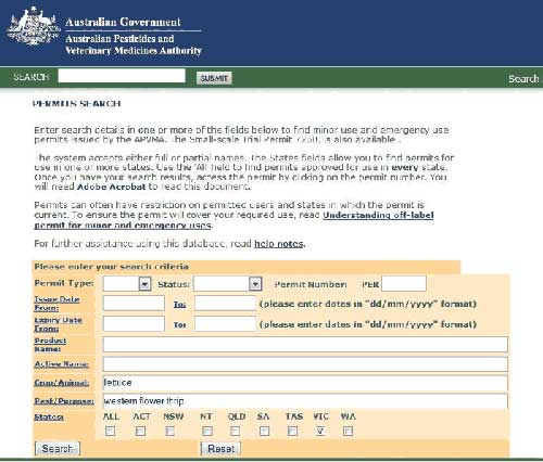 APVMA search form