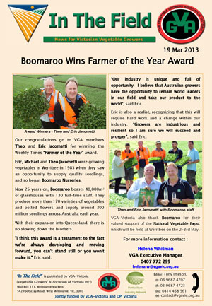 Boomaroo Wins Farmer of the Year Award