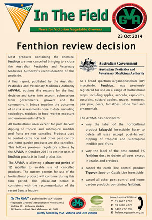 FENTHION Regulatory Decision