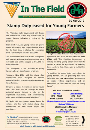 Stamp Duty Concesssions for Young Farmers