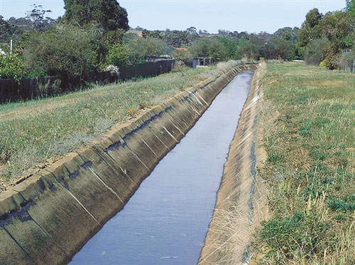 Irrigation Channel near homes at Bacchus Marsh
