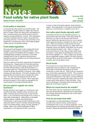 Food safety for native plant foods