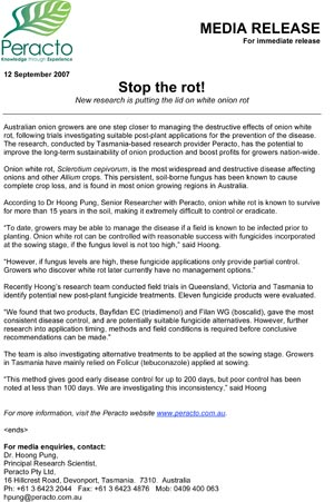 Stop the Rot - Media Release