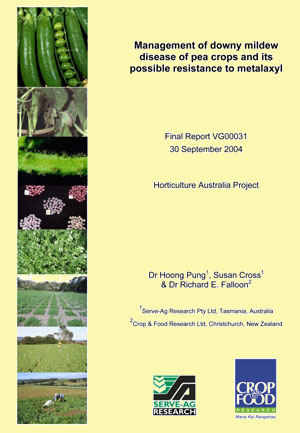 Management of downy mildew disease of pea crops and its possible resistance to metalaxyl - 2004