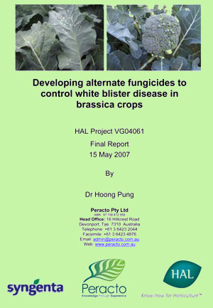 Developing alternate fungicides to control white blister disease in brassica crops- 2007