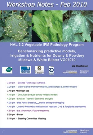 VG07070 - Benchmarking predictive models, Vegetable IPM Project Updates on Foliage Diseases - 2010