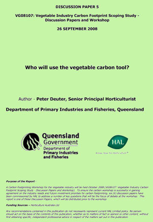 Who will use the vegetable carbon tool - September 2008