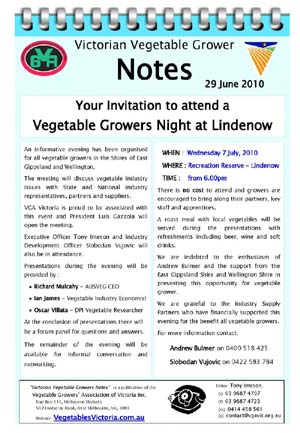 Invitation to Vegetable Growers at Lindenow