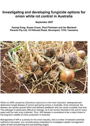 Investigating and developing fungicide options for onion white rot control in Australia - September 2007
