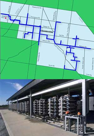 Eastern Irrigation Scheme map & treatment plant