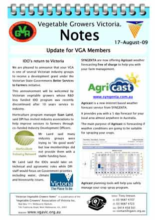 Industry Development Officer Horticulture Industry Network Syngenta Weather Forecast