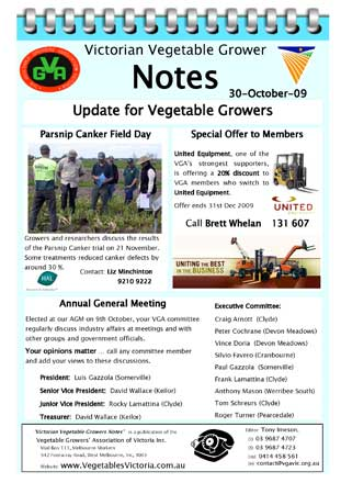 Parsnip Canker Field Day Annual General Meeting AGM United Equipment special offer