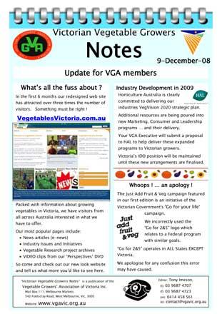 Vegetables Victoria Website Industry Development