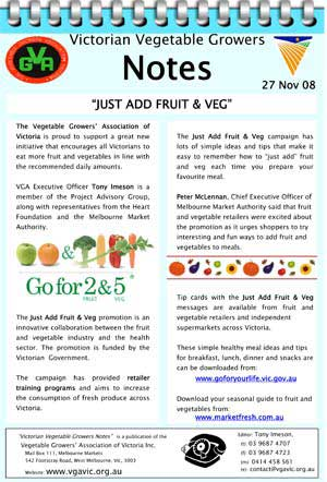 Just Add Fruit and Veg Program Consumer