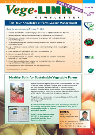 Victorian Vegetable Grower Magazine #29 Autumn 2007