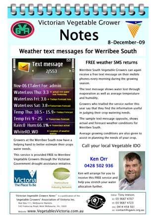Weather Station SMS for Werribee Growers