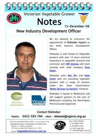 Slobodan Vujovic Horticulture Industry Network HIN Vegetable Industry Development Officer IDO