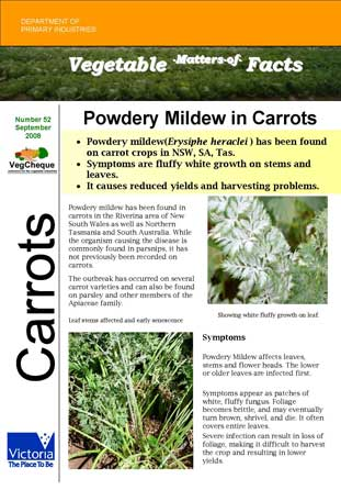 Matters of Facts #52 Powdery Mildew Carrots September 2008