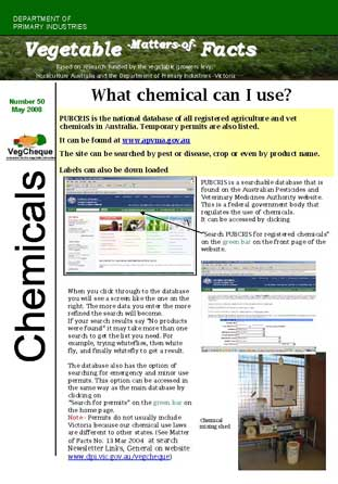Matters of Facts #50 Choosing the right chemical product May 2008