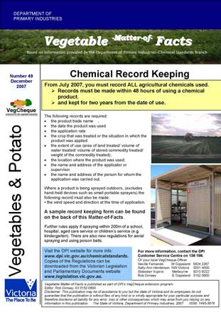 Matters of Facts #49 Chemical Record Keeping December 2007