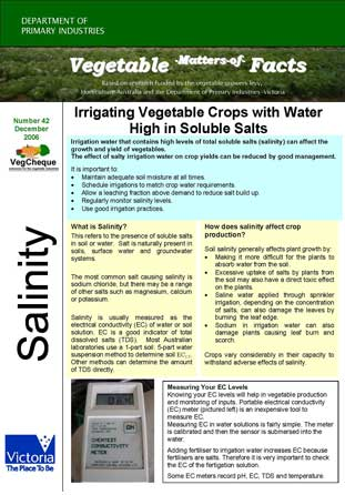 Matters of Facts #42 Coping with Saline Irrigation Water December 2006