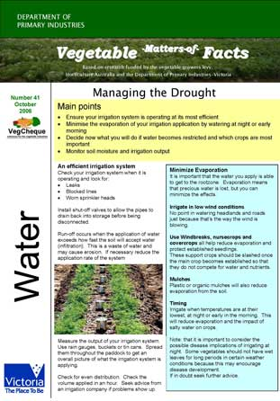 Matters of Facts #41 Managing Drought October 2006