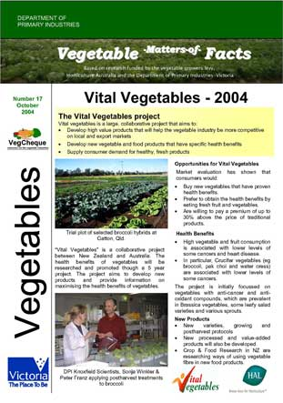 Matters of Facts #17 Vital Vegetables October 2004