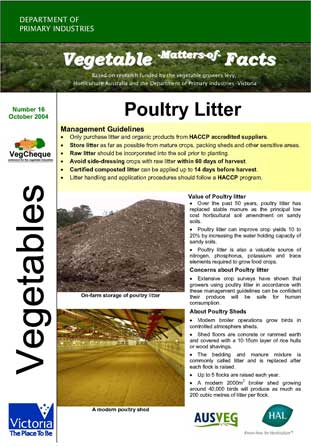 Matters of Facts #16 Poultry Litter, Chicken Manure, Fowl Manure October 2004