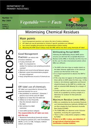 Matters of Facts #13 Minimising Chemical Residues, March 2004