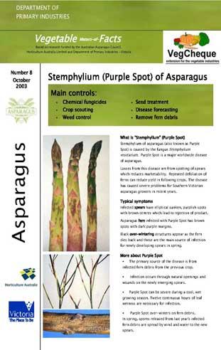 Matters of Facts #08 Asparagus Stemphylium, Purple Spot November 2003