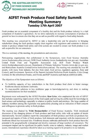 AIFST Fresh Produce Food Safety Summit 2007